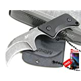 MTECH ack Curved KARAMBIT Fixed ade NECK Knife + Sheath + FREE eBOOK by MOON KNIVES