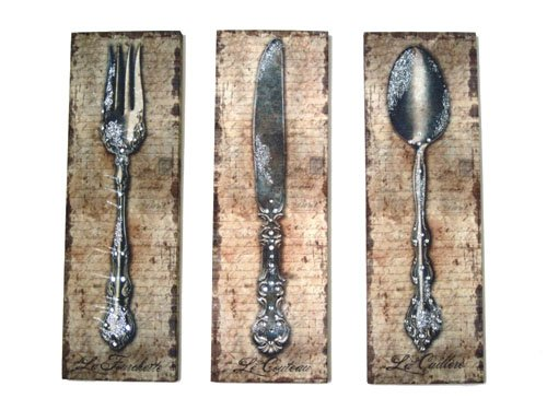 Bedazzled Fork Spoon Knife Canvas Prints Set Of 3