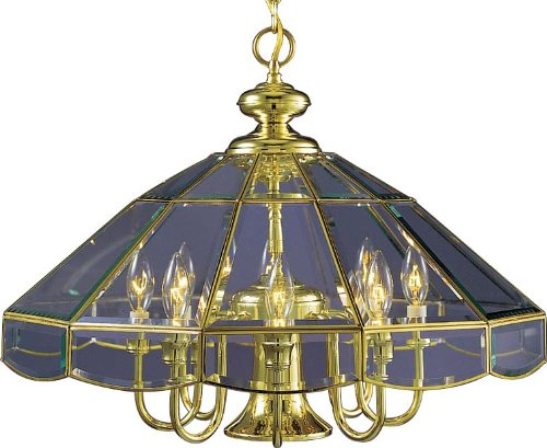 Volume Lighting V5133-2 Chandelier, Polish Brass Finish