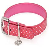Geepro Polka Dot PU Leather Puppy Dog Pet Collars With Heart Diamante (Hot Pink, L)