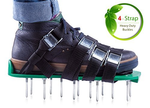 Professional Lawn Aeration Sandals with 4 Adjustable Durable Straps for Effective Treating, Aerate, Fertilize Lawn Soil-Lawn Aerator Shoes with Metal Buckles for Greener and Healthier Grass,Yard Care.