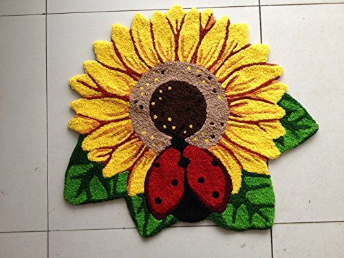 YOYOMALL Sunflower Area Rugs Hand-embroidered Floor Mats Personalized Custom Carpets Sunflower Imprint Anti-slip Mat Pastoral style carpet