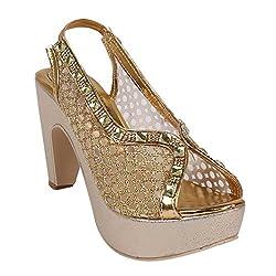 2Step Women's Golden Platform Heels Sandal
