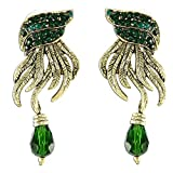 New age design green stone and gold earrings