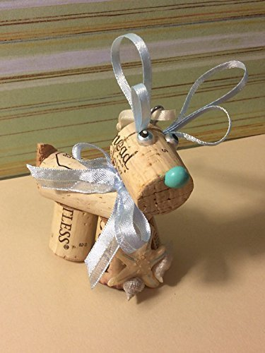 Wine Cork Craft Holiday Christmas Beach Nautical Reindeer Wedding Favor Ornament