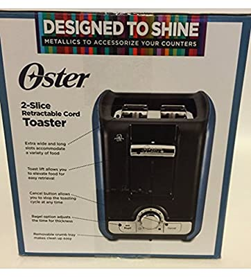 Oster 2-slice Retractable Cord Toaster Metallic Blue