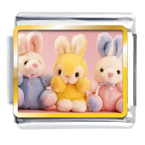 Animal Photo Stuffed Bunny Rabbits Italian Charms Bracelet Link