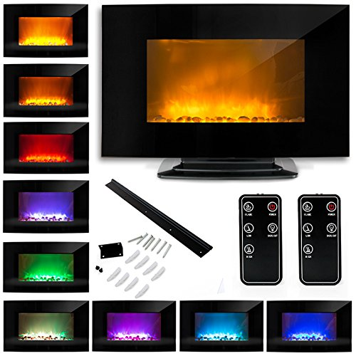"35"" 1500W Electric Glass Fireplace Heater Adjustable Heat Natural Stones Black W/ Base"
