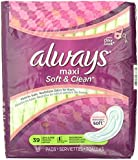 Always Maxi Soft & Clean With Odor-Lock Long/Super Without Wings, Lightly Scented Pads 39 Count