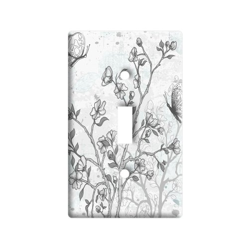 Vintage Butterflies Flowers Floral Sketch - Plastic Wall Decor Toggle Light Switch Plate Cover (Floral Wall Switch Covers compare prices)