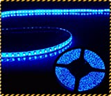 12V超高輝度 5M 600連 LEDテープ 防水 切断可能  白ベース/LEDブルー 正面発光