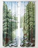 "Woodland Crossing Window Art Mural Curtains-One Pair-72"" x 84"""