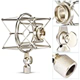Neewer® Studio Condenser Microphone Spider Shock Mount Holder Clip Anti Vibration Suspension High Isolation, Ideal for Radio Broadcasting Studio, Voice-over Sound Studio and Recording--Silver