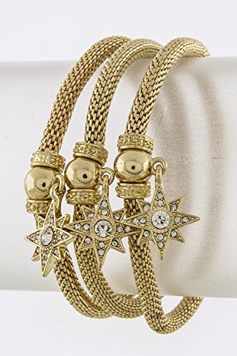 Karmas Canvas Star Charm Bracelet Set (Clear/Gold) front-180172