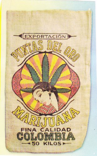 Colombia Marijuana Novelty Burlap Bag 22
