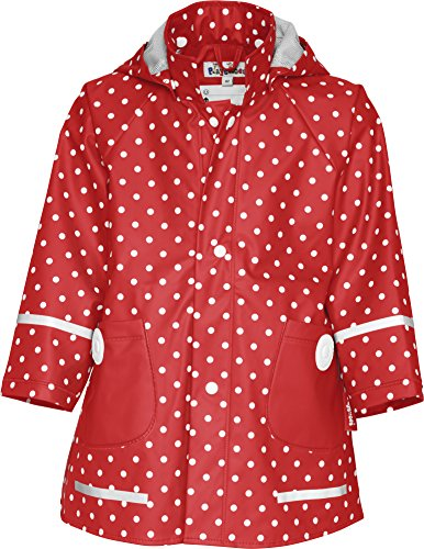 Playshoes - Cappotto Impermeabile a pois, manica lunga, bambina, Rosso (Rot (Rot)), 104 cm