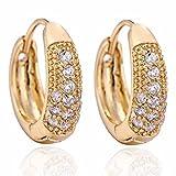 Yazilind Elegante Schmuck 18K Gold Filled Inlay Gl?nzende Runde Clear Crystal Kleine Ohrringe f¨¹r Frauen -Geschenk-Idee