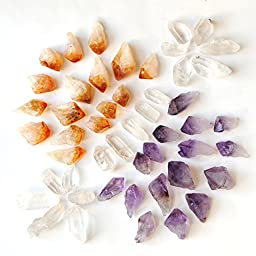 1.5 Lb, 40-50 Pcs Amethyst Citrine Crystal Quartz Point for Jewelry Making & Wire Wrapping, By JIC Gem (Medium)