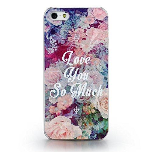 """JewelryWe Accessoires Coque de Téléphone """"Love you so much"""" Fleur Multicolore Polycarbonate Couverture Arrière pour Iphone 5/5s"""