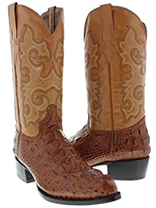 Team West - Men's Cognac Crocodile Hornback Design Leather Cowboy Boots J Toe Size 7
