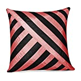 OBLIQUE DESIGN CUSHION COVER BLACK & PINK 1 PC (40 X 40 CMS)
