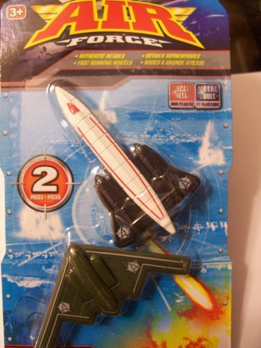 Air Force 2 Pack Die-cast Metal Airplanes ~ B-2 Stealth Bomber & SR-71