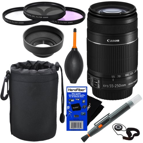 Canon Ef-S 55-250Mm F/4.0-5.6 Is Ii Telephoto Zoom Lens For Canon Eos 7D, 60D, Eos Rebel Sl1, T1I, T2I, T3, T3I, T4I, T5I, Xs, Xsi, Xt, & Xti Digital Slr Cameras + 10Pc Bundle Deluxe Accessory Kit