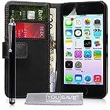 Yousave Accessories AP-GA01-Z799P Etui en cuir avec Stylet pour iPhone 5S Noir