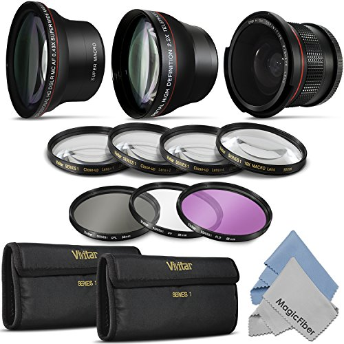 58Mm Essential Lens And Filter Kit For Canon Rebel (T5I T4I T3I T3 T2I T1I Xt Xti Xsi Sl1), Eos (700D 650D 600D 1100D 550D 500D 100D) Cameras - Includes: Altura Photo 0.43X Wide Angle, 2.2X Telephoto And 0.35X Fisheye High Definition Lenses + Macro Close-