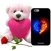 Valentine Gift Homesogood Calm And Burning Love Black 3D Mobile Case For IPhone 6 (Back Cover) With Teddy & Red...