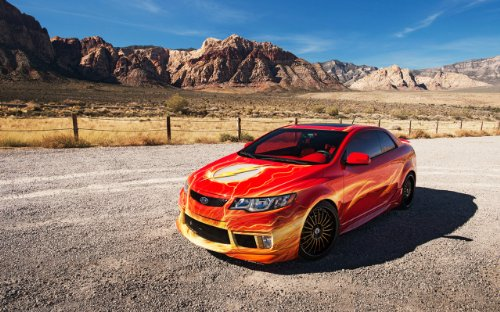 classic-car-e-muscle-pubblicitari-e-con-il-flash-auto-per-kia-forte-koup-2012-poster-con-stampa-arti