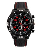GT Racing Sport Watch Military Pilot Aviator Army Style Black Silicone Red Men's Watches thumbnail
