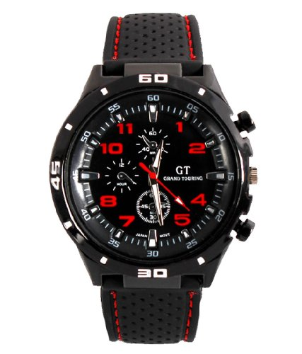 GT Racing Sport Watch Military Pilot Aviator Army Style Black Silicone Red Men's Watches image