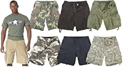 Mens Military Vintage Army Infantry Utility Cargo Shorts