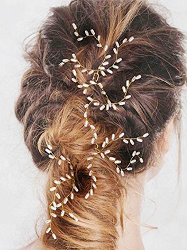Bridalvenus Wedding Hair Pins Gold for Bridal and Bridesmaids, Flower Girls (Set of 3)