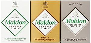 Maldon Triple Gift Pack (Sea Salt, Smoked Sea Salt, Black Peppercorns), 10.2-Ounce