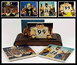 Set of 4 Illustrated Pittsburgh Steelers Drink Coasters and 1 Wooden 4 Coaster Holder