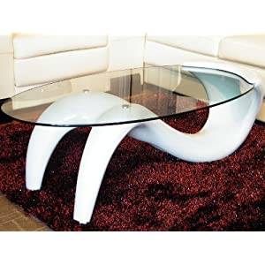 Alaya Oval Tempered Glass Coffee Table On Inverted S Shaped White