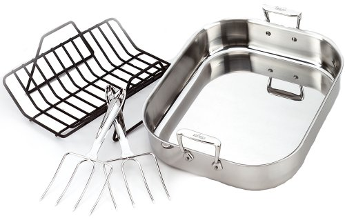 All-Clad 501631 Stainless Steel Large Roti Combo with Rack and Turkey Lifters Cookware, Silver (Large Roast Pan compare prices)