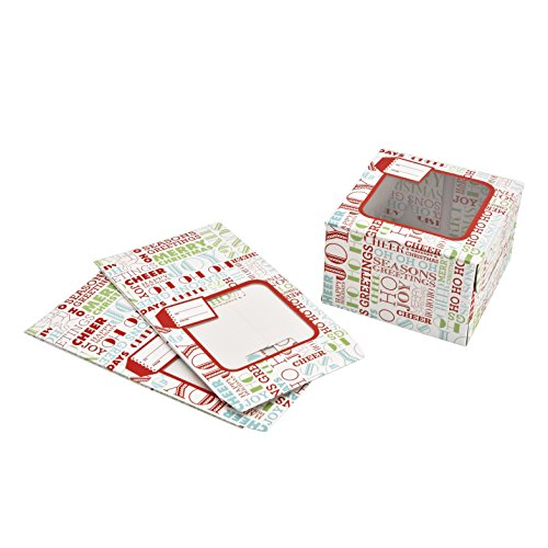 Sweet Creations Christmas Holiday Typography Cookie Boxes, Medium, White, 3-Pack (See Through Box Packaging compare prices)