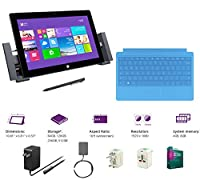 "Microsoft Surface Pro 2 Core i5-4200U 4G 128GB 10.6"" touch screen 1920x1080 Full HD Wacom Pen Windows 8 Pro Multi-position Kickstand(With Dock,Cyan Type Cover,4Gb 128GB) from Microsoft"