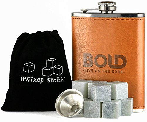 Bundle - Whiskey Stones, 8 Oz. Stainless Steel Leather Hip Flask and Funnel Gift Set by Bold Brands