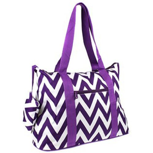Ever Moda Chevron Print Extra Large Tote Bag with Coin Purse, Purple and White - 1