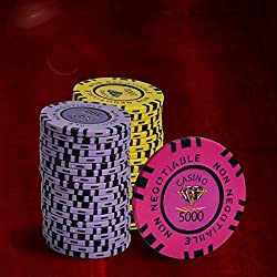 Magideal Worth 5000 Dark Pink Non Negotiable 45 Mm Diamond Clay Casino Chips