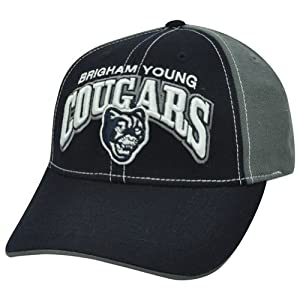 Buy NCAA Brigham Young Cougars BYU Two Tone Arch Navy Blue Adjustable Velcro Hat Cap by Official Collegiate Licensed Product