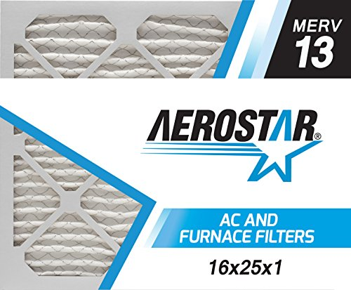 16x25x1 AC and Furnace Air Filter by Aerostar - MERV 13, Box of 6