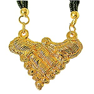 Surat Diamonds Gold Plated Mangalsutra Pendant with Black Kedia Beads Chain 30 IN for Women  MNG2  available at Amazon for Rs.99
