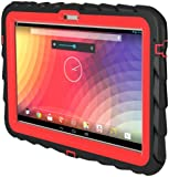 Google Nexus 10 (2012) Drop Tech Red Gumdrop Cases Silicone Rugged Shock Absorbing Protective Dual Layer Cover Case