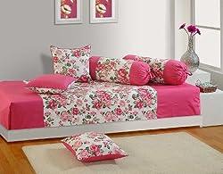 Swayam Diwan-e-Khaas Cotton 6 Piece Diwan Set - Pink (DWN16-1428)
