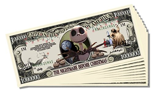 The Nightmare Before Christmas Novelty Million Dollar Bill - 10 Count with Bonus Clear Protector & Christopher Columbus Bill
